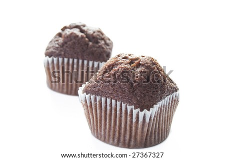 Muffins isolated over white background