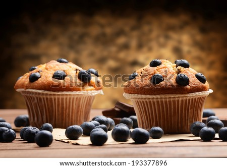 Muffins with blueberries - stock photo