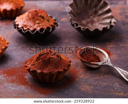 Muffins with blueberries, topped with cocoa powder, on a dark background.selective focus. - stock photo
