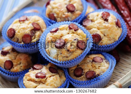 muffins with sausages - food and drink