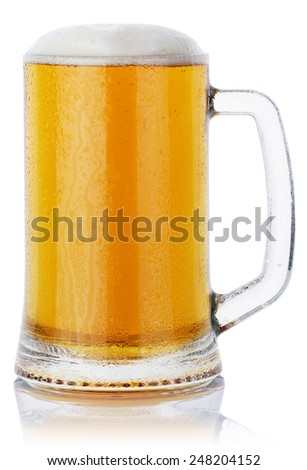 mug fresh beer with cap of foam isolated on white background. clipping path - stock photo