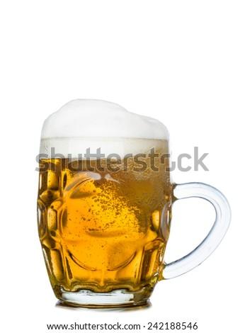 Mug full of fresh beer isolated on white background - stock photo