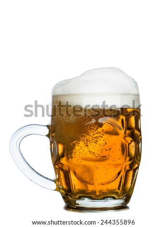 Mug full of fresh beer isolated on white background - stock photo