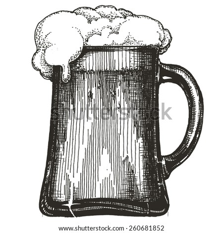 mug of beer on white background - stock photo