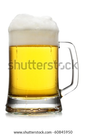 Mug of beer with froth isolated over white background - stock photo