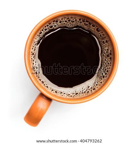 mug of coffee on white background - stock photo