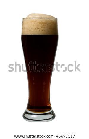 Mug of dark beer on the white background close-up - stock photo