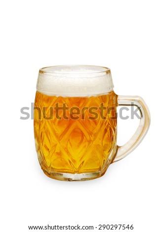 Mug of light beer isolated on a white background  - stock photo