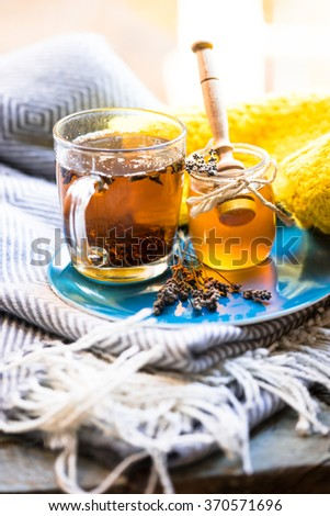Mug of tea and jar of honey on a blue plate and knitted scarf with fringe - stock photo