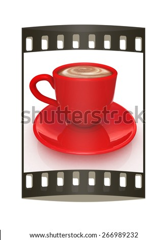 mug on a white background. The film strip - stock photo