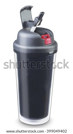 mug thermos travel cup coffee thermo black drink warm hot  heat  - stock photo