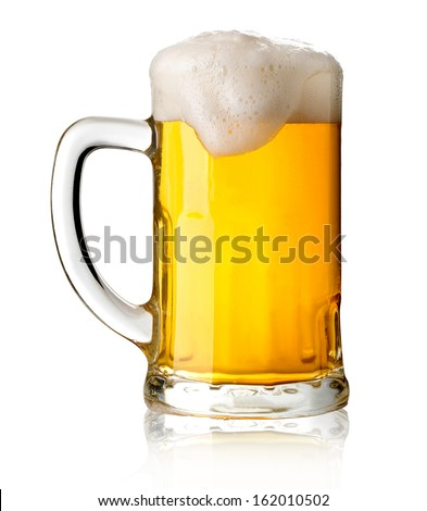 Mug with beer on white background with clipping path - stock photo