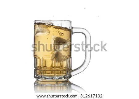 Mug with beer white background.