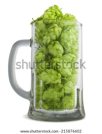 Mug with hops. Isolated on a white background.  - stock photo