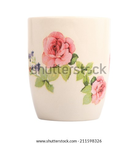 Mug with rose flower pattern isolated on white background