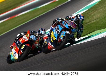 MUGELLO - ITALIA, MAY 22: Spanish Moto2 rider Alex Marquez at 2016 TIM MotoGP of Italy at Mugello circuit on May 22, 2016 - stock photo