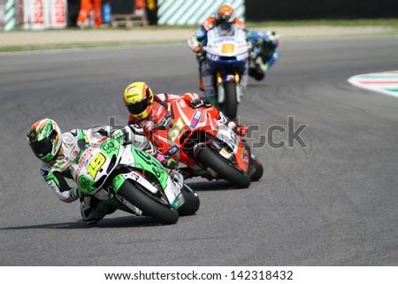MUGELLO - ITALY, JUNE 3: Spanish Honda rider Alvaro Bautista at 2013 TIM MotoGP of Italy at Mugello circuit on June 3, 2013 - stock photo