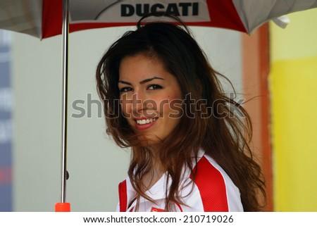 MUGELLO - ITALY, MAY 31: Beautiful grid girl at 2014 TIM MotoGP of Italy at Mugello circuit on May 31, 2014 - stock photo