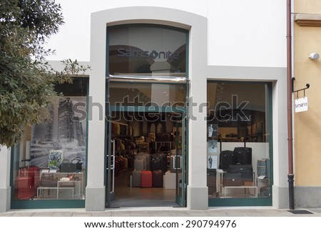 MUGELLO, ITALY - SEPTEMBER 11, 2014: Facade of Samsonite store in McArthurGlen Designer Outlet Barberino near Florence. Samsonite is a global luggage manufacturer and retailer founded 1910 in USA. - stock photo