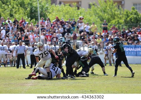Mugla, Turkey - May 06, 2016 : American football players are playing during the Unilig University summer competitions on May 06, 2016 in Mugla, Turkey.