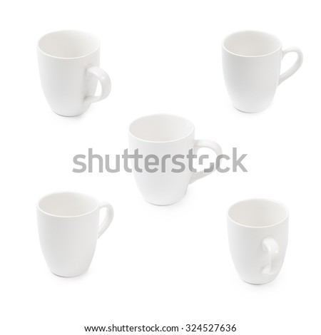 Mugs white isolated rotate view  difference angle for template design which clean and clear simple cup. - stock photo