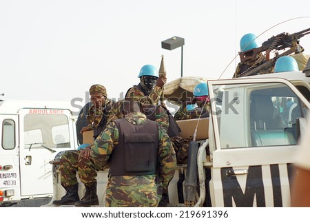 MUKJAR ,Southern Sudan - June 3, 2012 : Unidentified Tanzania soldiers . Tanzania Military Peacekeeping mission in Southern Sudan.