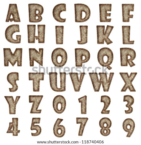 Mulberry paper Alphabet(A-Z)  and Number(0-9). - stock photo