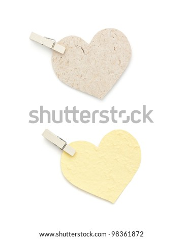 Mulberry paper  heart shape with pin isolated on white - stock photo