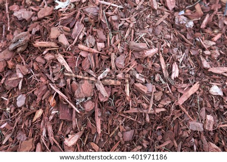 Mulch background. red sawdust. full frame. Abstract background. - stock photo