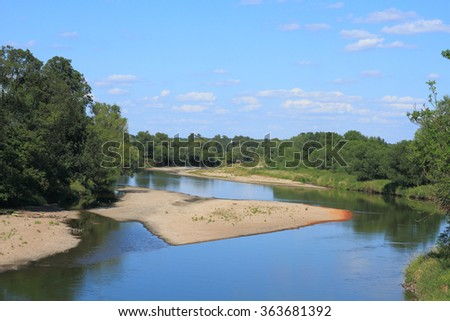 Mulde river in summer in Saxony-Anhalt / Germany