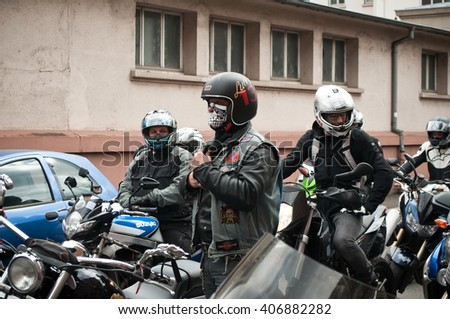 MULHOUSE - France - 16 April 2016 - group of bikers and motorcycles in the street during the event bikers angry against the technical inspection of motorcycles