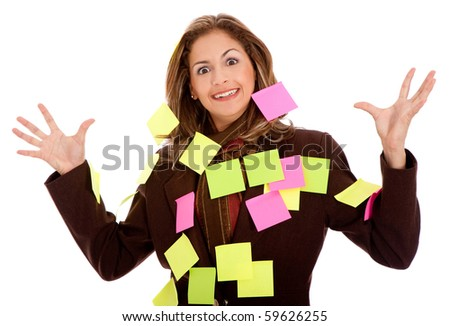 mulitasking business woman with post-its,  isolated over a white background - stock photo