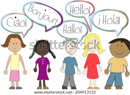mulitlingual children - stock photo