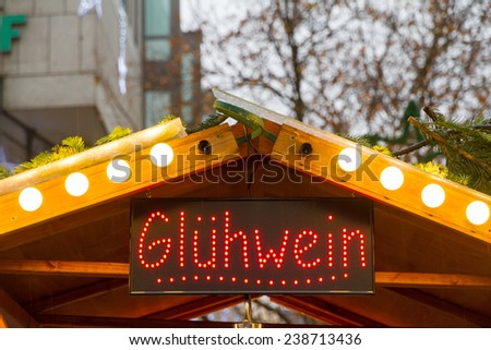 Mulled wine booth in Munich at Christmas - stock photo