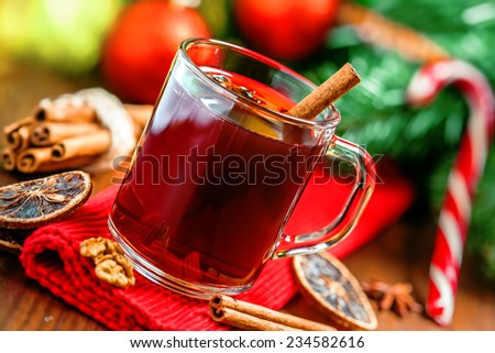 Mulled wine, hot alcohol drink - stock photo