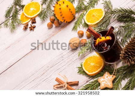 mulled wine with christmas decoration - stock photo