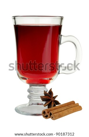 mulled wine with cinnamon and star anise - stock photo