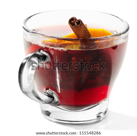Mulled wine with spices  Isolated on white background. Selective focus - stock photo