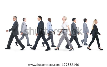 Mullti-ethnic Group of Business People Walking - stock photo