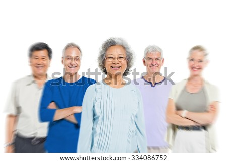 Mullti-ethnic senior group of people
