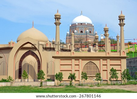 MULTAN, PAKISTAN -MARCH 25 2015: Tomb of Shah Rukn-e-Alam is the mausoleum of the Sufi saint Rukn-e-Alam that was built between 1320 and 1324 AD in the pre-Moghul architectural style.  - stock photo