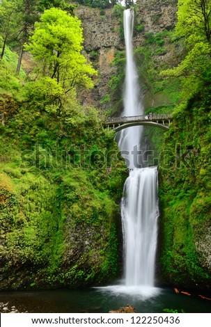 Multhnomah.Two-cascade falls. USA. Oregon state. - stock photo