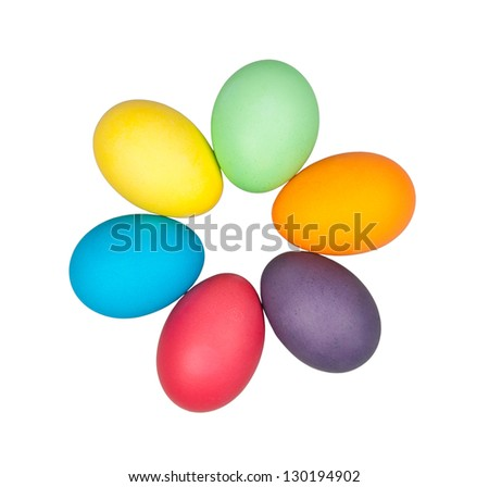 multi color eggs isolated on white - stock photo
