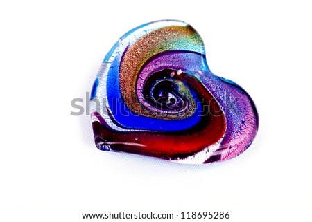 Multi color glass heart - stock photo