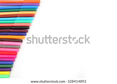 Multi-Color Magic pen on White background - stock photo