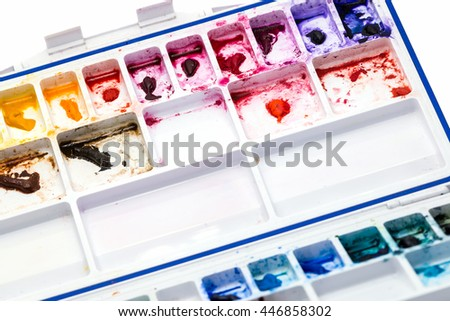 multi color of water color on white color palette - stock photo