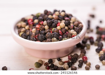 Multi color pepper seeds, hot spices - stock photo