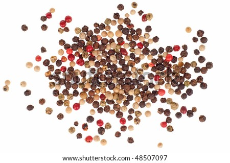 Multi color pepper seeds - isolated on white background - stock photo