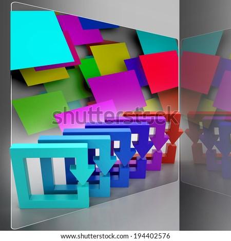 Multi colored arrow square - stock photo