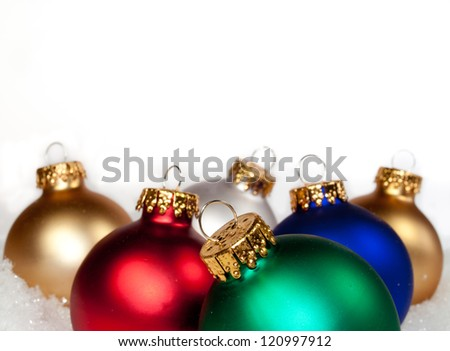 multi colored baubles on a white background - stock photo